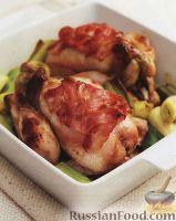 Фото к рецепту: Цыплята с медом и беконом