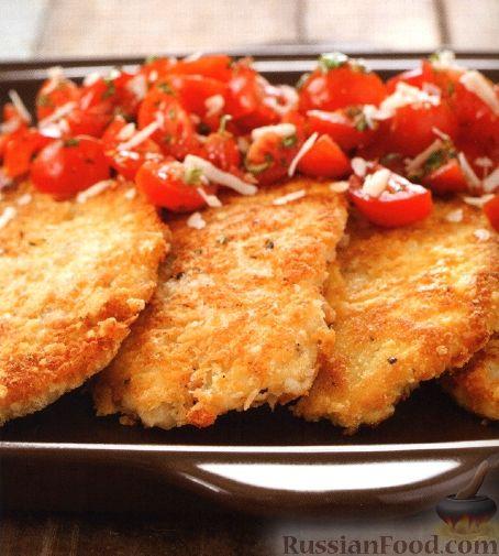Рецепт Куриные отбивные с салатом из помидоров