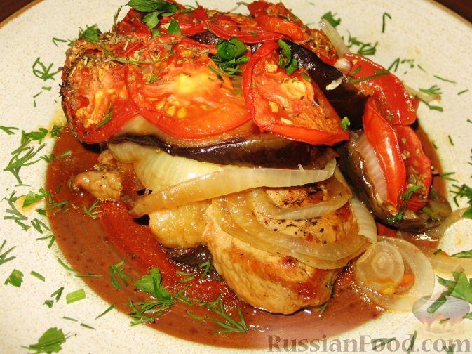 Рецепт Свинина, запеченная с баклажанами