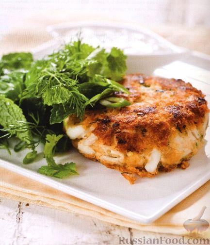 Рецепт Котлеты из крабового мяса и зеленый салат