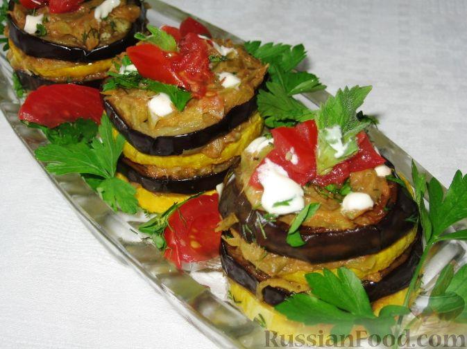 Рецепт Кабачково-баклажанный мильфей с овощами