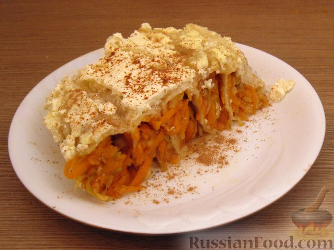 Рецепт Запеканка из лаваша с тыквой и яблоком (в микроволновке)