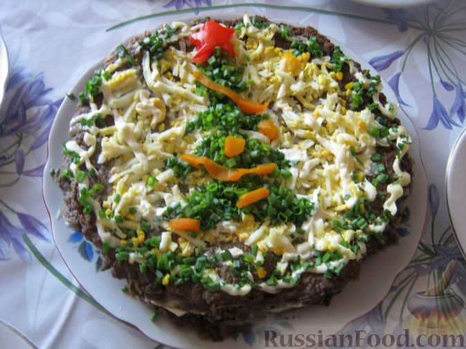 Рецепт Новогодний печеночный торт
