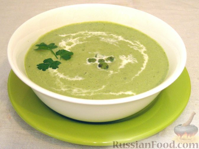 суп пюре из зеленого свежего горошка рецепт с фото