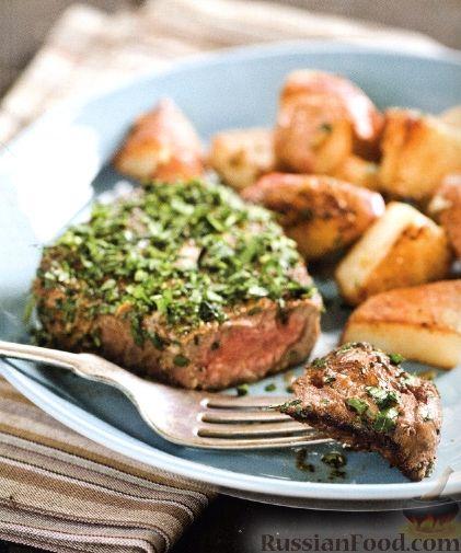 Рецепт Говяжьи стейки с жареным картофелем