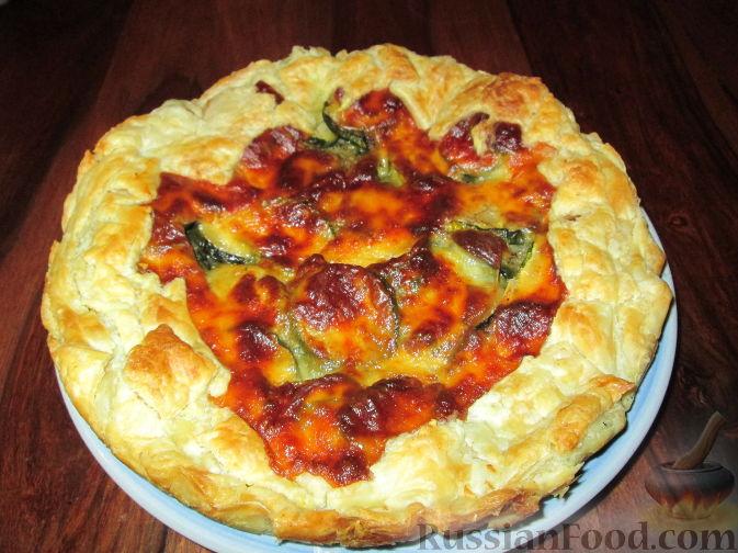 Рецепт Открытый пирог с цуккини и колбасным сыром