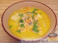 Фото к рецепту: Сливочный суп с шампиньонами и рисом