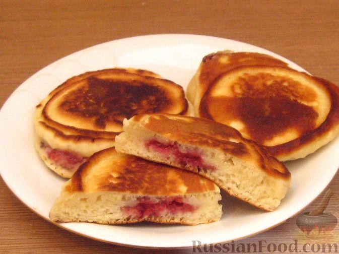 Рецепт Постные оладьи с малиновой начинкой