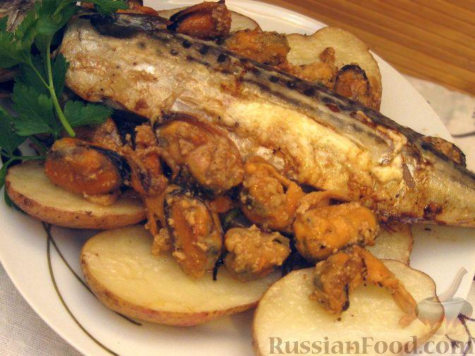 Рецепт Запеченная скумбрия с мидиями и картофелем