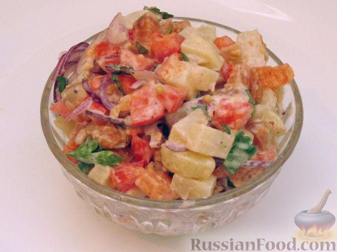 Рецепт Салат из семги с картофелем и помидорами