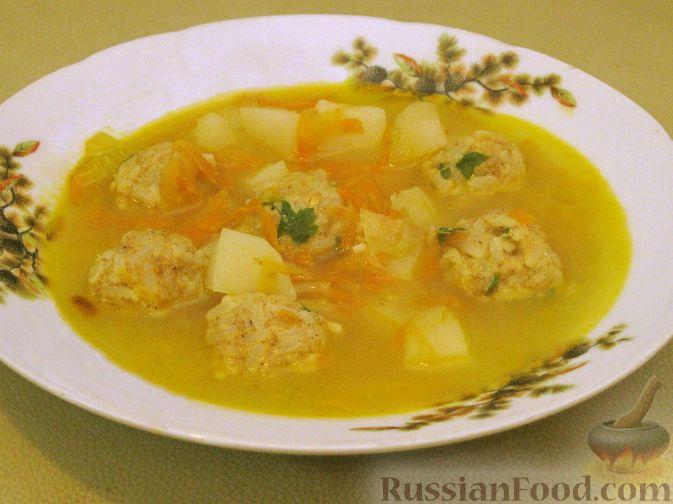 Рецепт Овощной суп с рисовыми фрикадельками