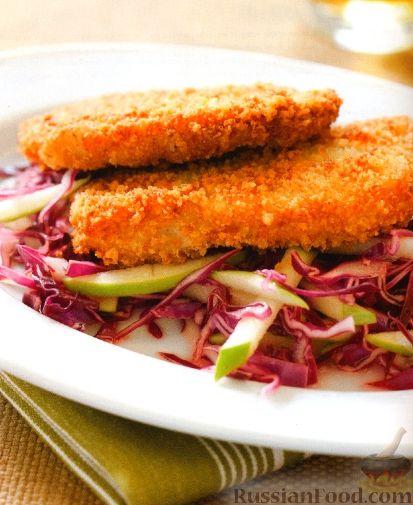 Рецепт Свиные отбивные с капустным салатом
