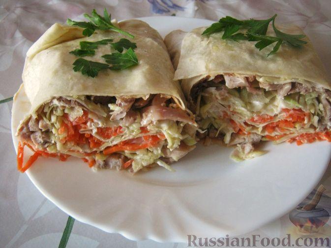 Рецепт Лаваш с курицей и овощами