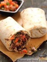 Фото к рецепту: Буррито с фасолью, рисом, мясом и помидорами