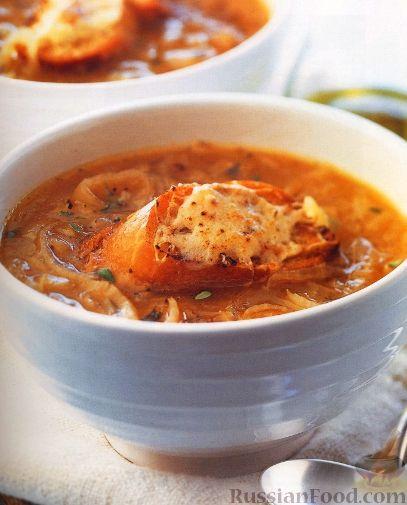 Рецепт Французский луковый суп с гренками