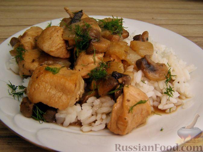 Рецепт Куриное филе, тушенное с шампиньонами