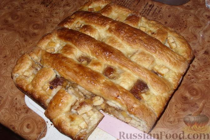 Рецепт Открытый пирог с яблоками и сливами