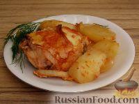 Фото к рецепту: Запеченная курица с имбирем и чесноком