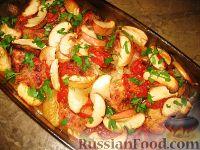 Фото к рецепту: Мясо по-немецки с белым вином, помидорами и яблоками