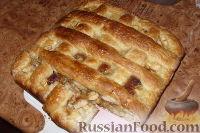 Фото к рецепту: Открытый пирог с яблоками и сливами