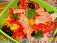 Фото к рецепту: Итальянский салат с перцем и салями