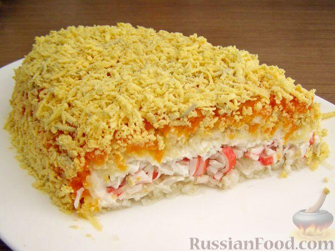 Рецепт Нежный салат с крабовыми палочками