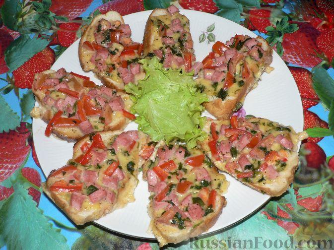 мини-пицца на батоне рецепт с фото