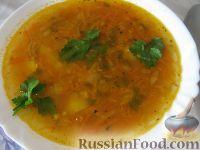 Фото к рецепту: Томатный постный суп из чечевицы