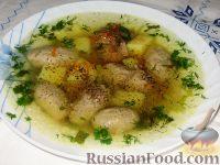 Фото к рецепту: Куриный суп с гречневыми галушками