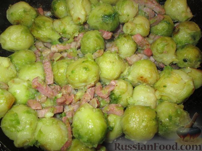 Рецепт Гарнир из брюссельской капусты с беконом