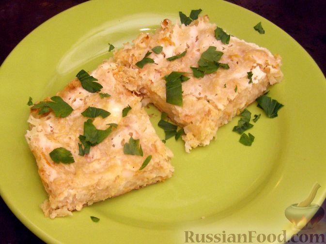 Рецепт Овощная запеканка из тертого картофеля с брынзой и сельдереем