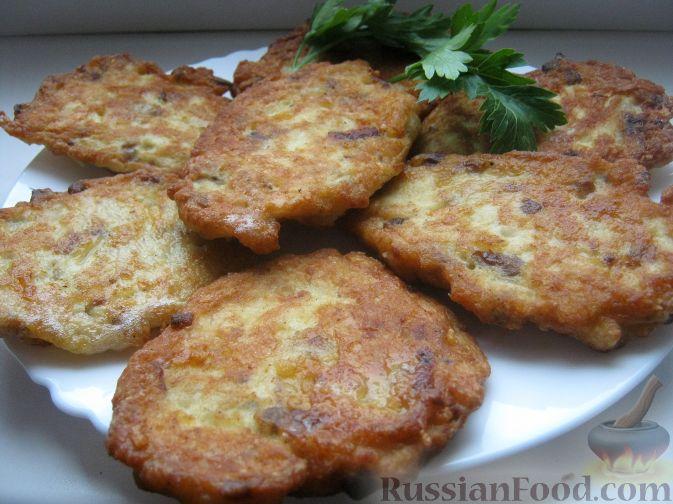 Рецепт Куриные оладьи с грибами и сыром