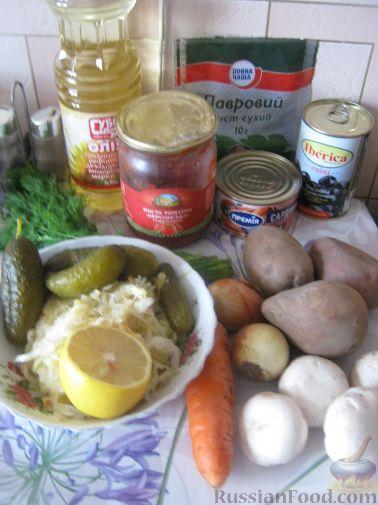 рецепт приготовления солянки с грибами и капустой