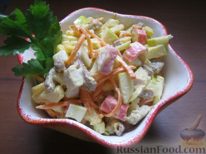 Салат курица и крабовые палочки с фото