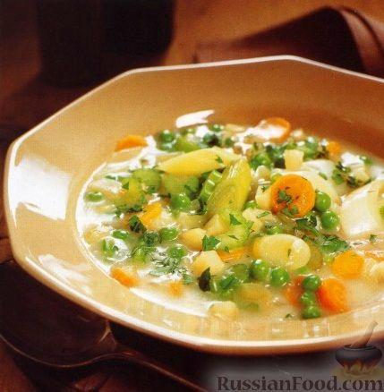 Рецепт Овощной суп с зеленым горошком