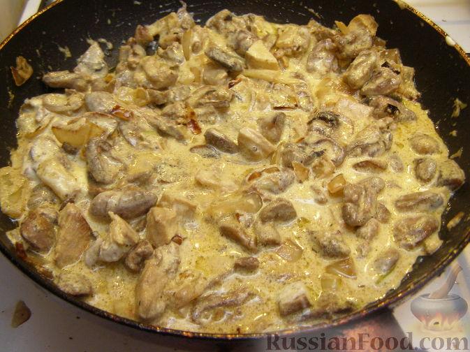 Куриные желудки рецепт приготовления на сковороде со сметаной