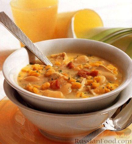 Рецепт Куриный суп с фасолью, кукурузой и беконом