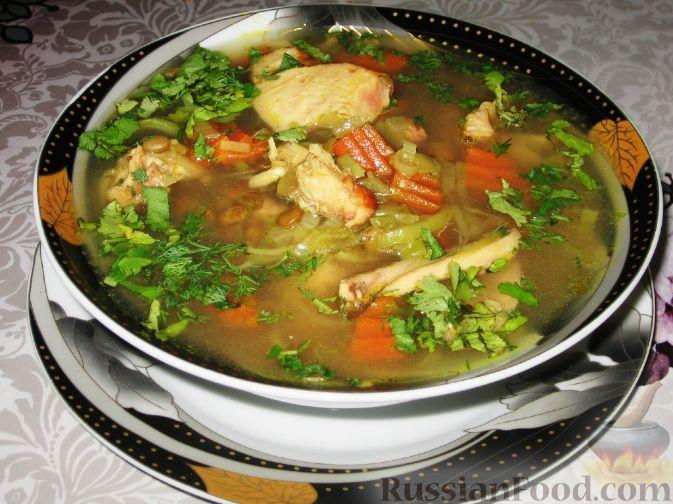 Рецепт Суп с чечевицей и копченой курицей