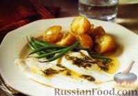 Фото к рецепту: Жареная камбала с щавелевым соусом