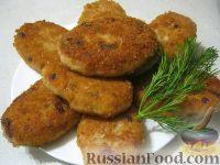 Фото к рецепту: Рыбные котлеты  (из двух видов фарша)