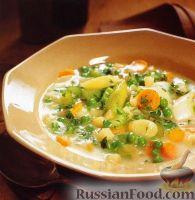 Фото к рецепту: Овощной суп с зеленым горошком