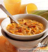 Фото к рецепту: Куриный суп с фасолью, кукурузой и беконом