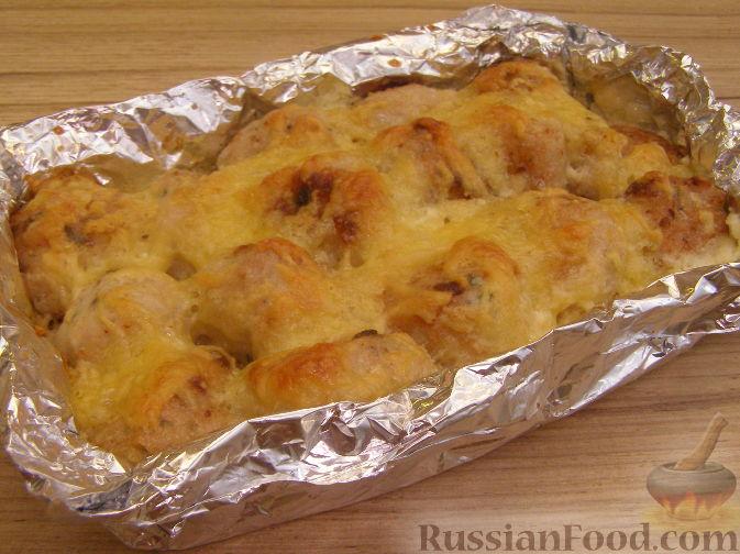 Рецепт Куриные тефтели, запеченные в сливочном соусе