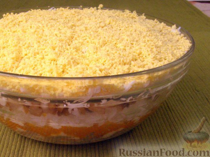 """Рецепт Салат """"Мимоза"""" с рисом и копченой рыбой"""
