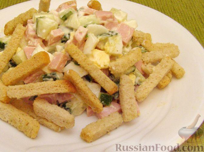 """Рецепт Салат с сухариками """"Завтрак за пять минут"""""""