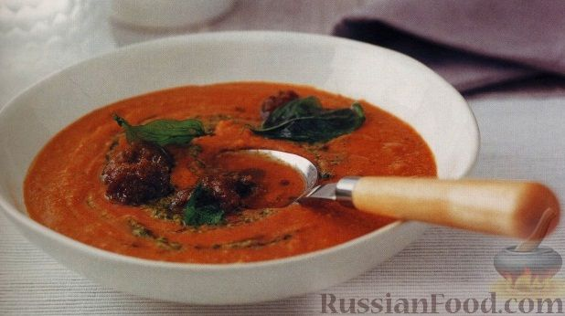 Рецепт Средиземноморский суп-пюре с соусом песто