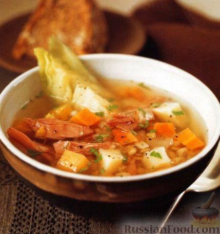 Рецепт Суп с перловкой, чечевицей, овощами и свининой