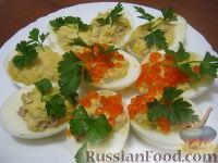 Фото к рецепту: Яйца, фаршированные печенью трески