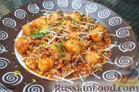 Фото к рецепту: Картофельные шарики в соусе болоньезе