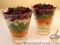 Фото к рецепту: Винегрет слоеный с зеленой фасолью